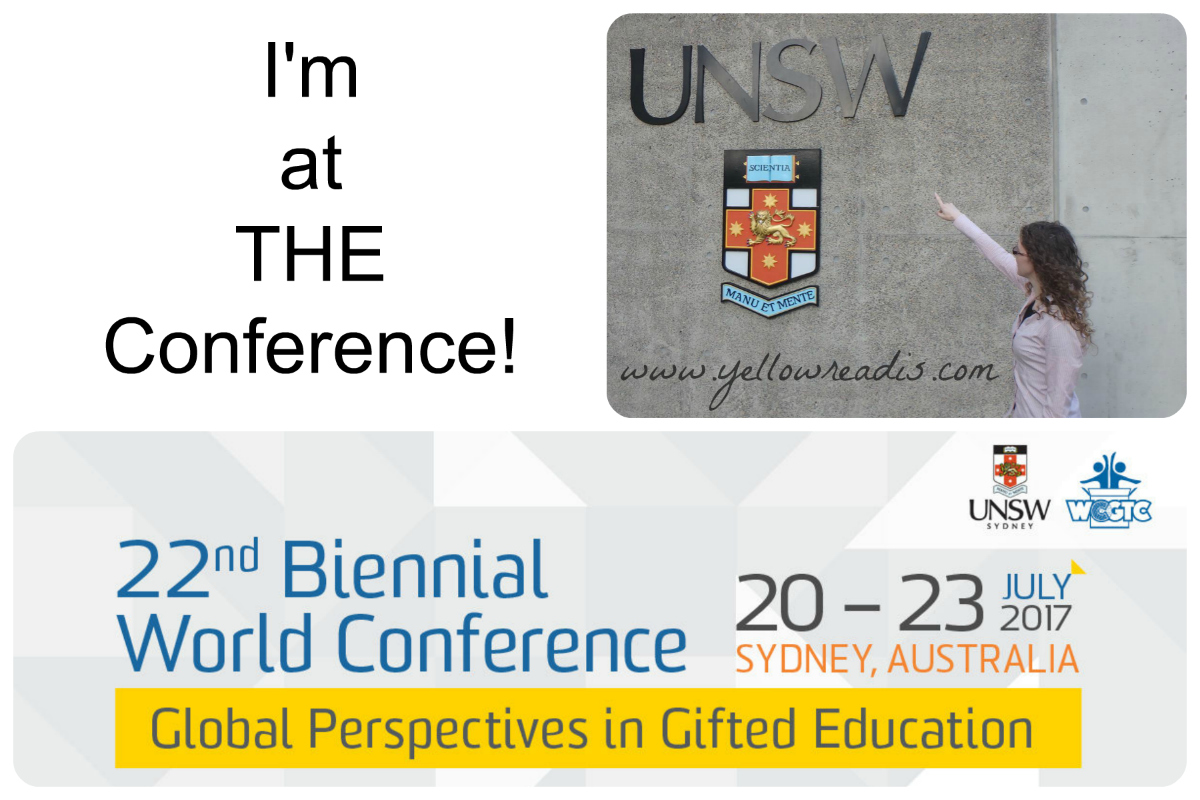 "Image of woman pointing to UNSW University sign and banner. Word ""I'm at the Conference """
