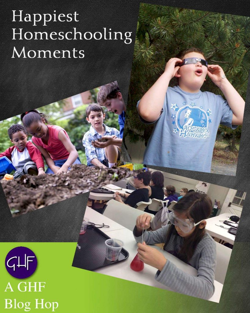 text: Happiest Homeschooling Moments. Pictures: Boy in park in glasses, girl in lab doing experiment, kids playing in mud
