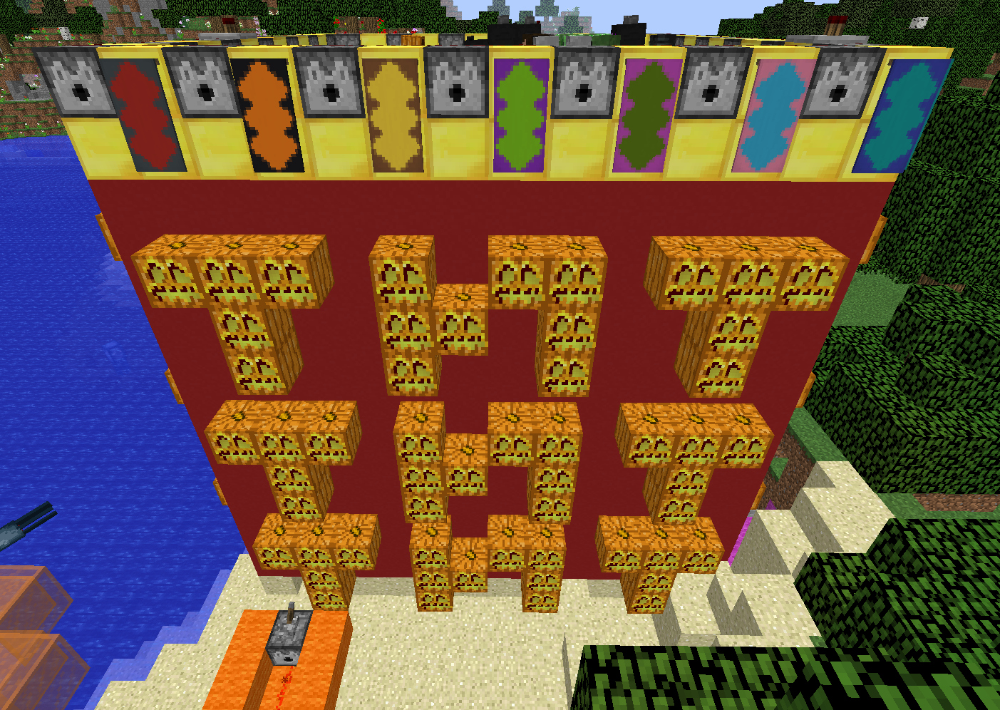 TNT Castle constructed in Minecraft, Text: Words TNT TNT TNT