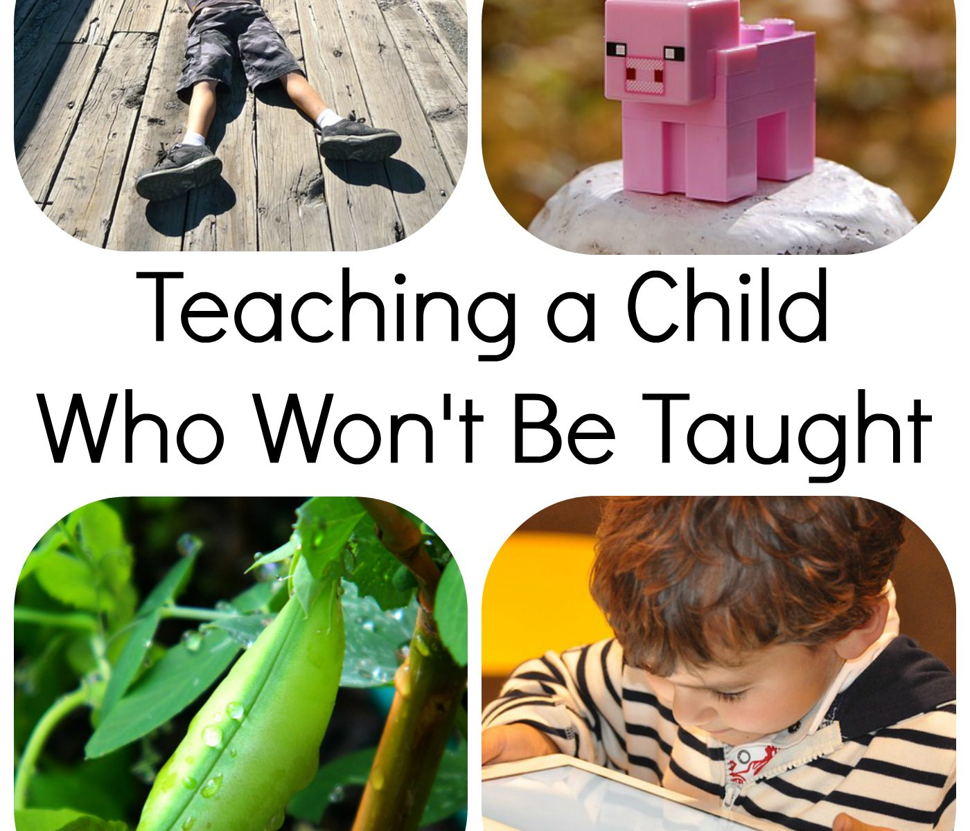 """Text: """"Teaching a Child Who Won't Be Taught"""" """"yellowreadis.com"""" Pictures: Boy in blue shorts and top lying on wooden bridge, minecraft pig on a white rock, pea pod on vine, young child in striped top playing with a tablet"""