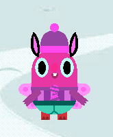 Pink monster cartoon with bunny ears, purple beanie and green pants on pale blue background