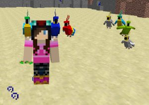 Minecraft avatar with parrots in the desert